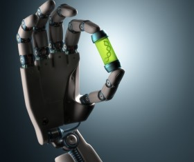 Robotic hand with DNA bottle Stock Photo