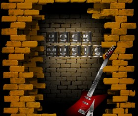 Rock music brick wall guitar vector background
