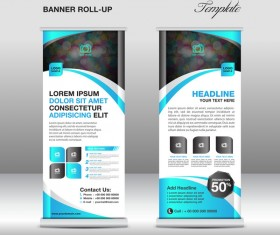 Roll up banner stand template blue styles vector 02