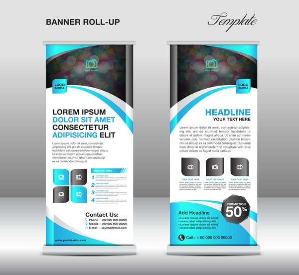 Roll Up Banner Stand Template Blue Styles Vector 02 Free