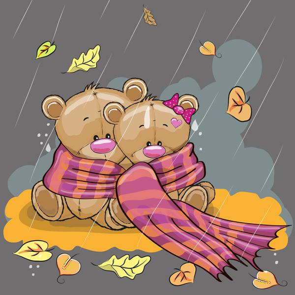 Romantic cartoon bears vector design 03
