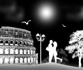 Rome sunset with romantic couple travel vectors 10