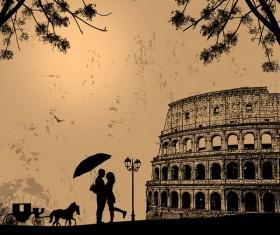 Rome sunset with romantic couple travel vectors 11