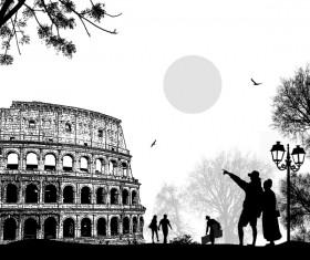Rome sunset with romantic couple travel vectors 12