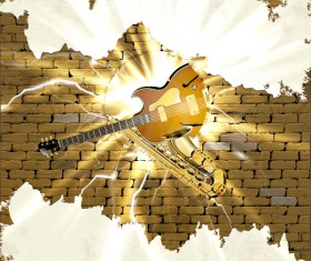 Sax and jazz guitar in the brick wall background vector