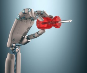Screwdriver and Robot hand Stock Photo