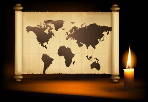 Scroll world map and candle vector background