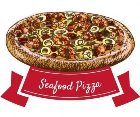 Seafood pizza vintage label vector