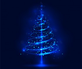 Shiny blue christmas tree with blue background vector 03