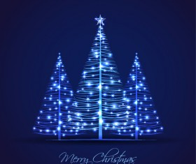 Shiny blue christmas tree with blue background vector 04