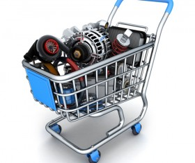 Shopping cart in the car parts Stock Photo