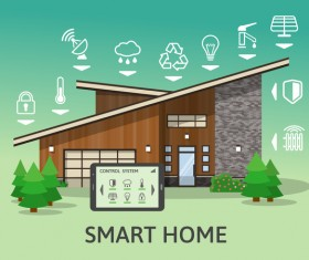 Smart home flat template vector 01