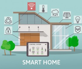 Smart home flat template vector 02