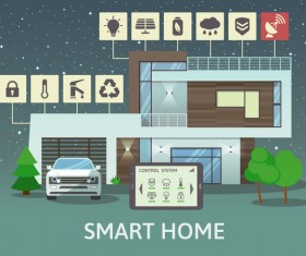 Smart home flat template vector 03