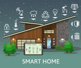 Smart home flat template vector 04