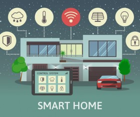 Smart home flat template vector 05