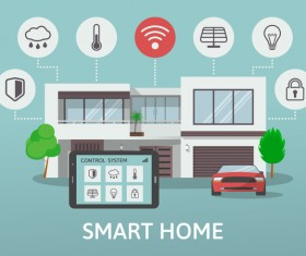 Smart home flat template vector 06