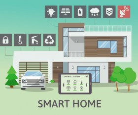 Smart home flat template vector 07