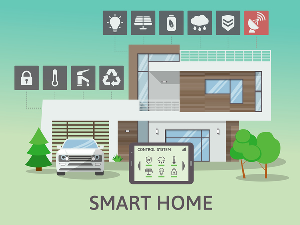 Eps File Smart Home Flat Template Vector 07 Download Name Smart Home