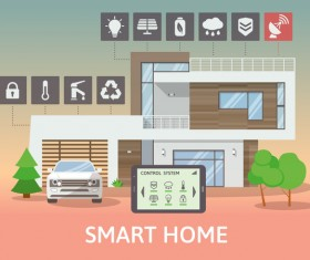 Smart home flat template vector 08