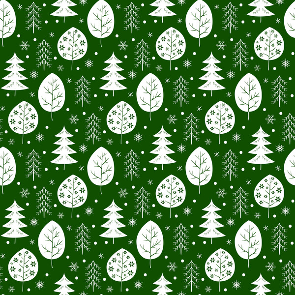 Snowflake with christmas tree vector seamless pattern 01