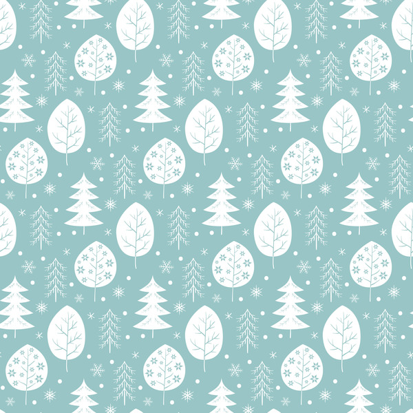 Snowflake with christmas tree vector seamless pattern 02