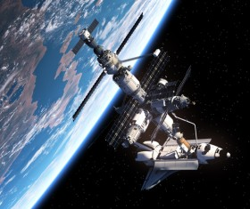 Space station and spacecraft docking HD picture