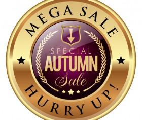 Special autumn sale badge golden vector
