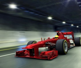 Speeding the tunnel in the F1 car Stock Photo