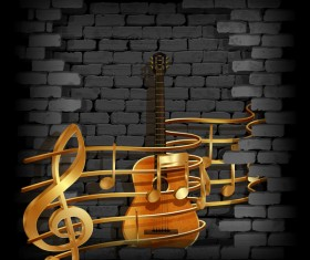 Stone brick wall frame guitar music background vector