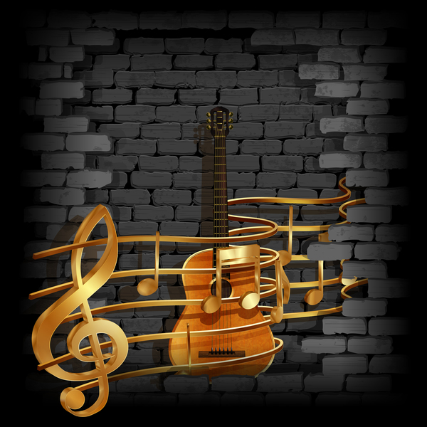 Stone brick wall frame guitar music background vector - Guitar border wallpaper ...