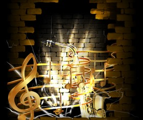 Stone brick wall frame saxophone music vector