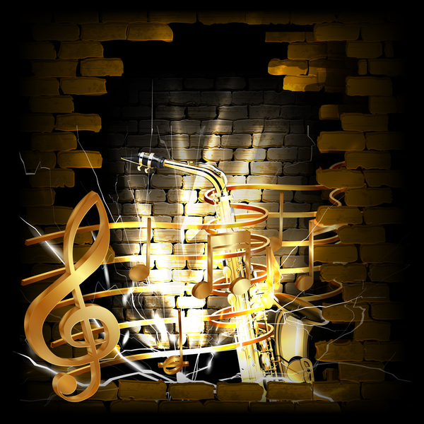 Stone brick wall frame saxophone music vector