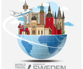Sweden travel vector template