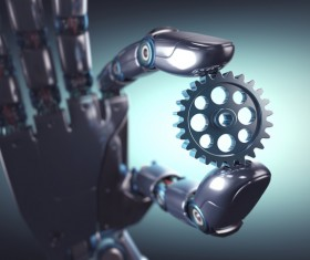 Take the gear's Robot hand Stock Photo