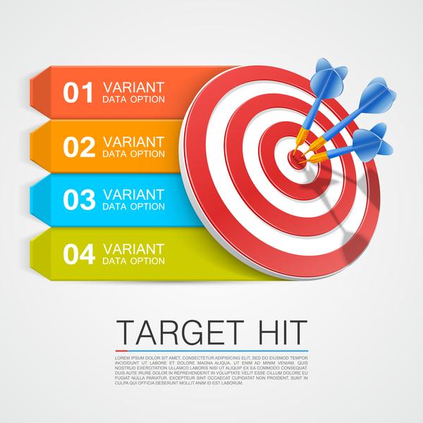 Target hit Infographics vector template 02