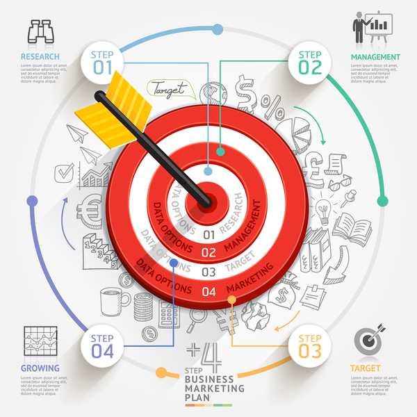 Target hit Infographics vector template 04