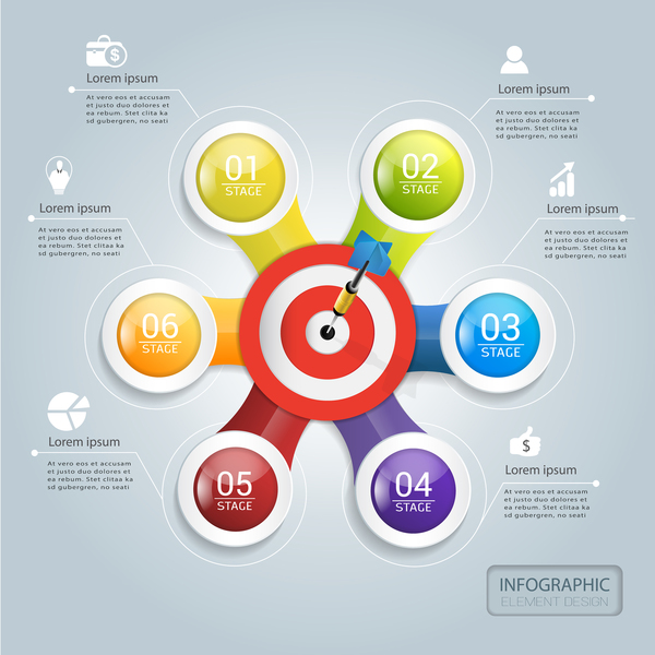 Target hit Infographics vector template 05