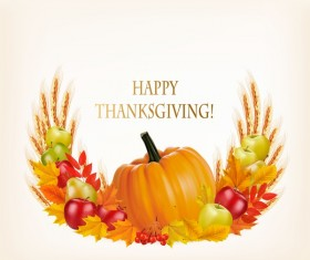 Thanksgiving background with colorful leaves and pumpkin fruits vector