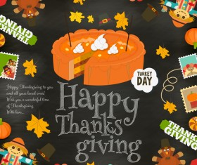 Thanksgiving card with pie vector 01
