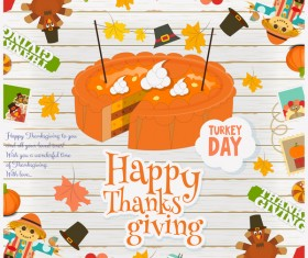 Thanksgiving card with pie vector 02