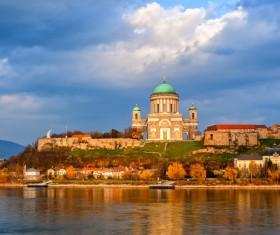 The Danube and the Dome of the Redstone Castle Stock Photo