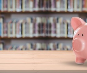 The Little Pig with a Dr. Hat and the Library Stock Photo