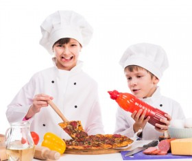 The children in the chef's uniform make food