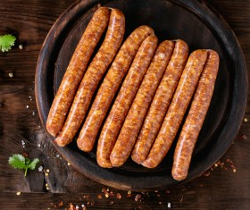 The sausages on the disc Stock Photo 01