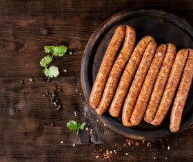 The sausages on the disc Stock Photo 02
