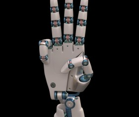 Three fingers of the robot hand Stock Photo