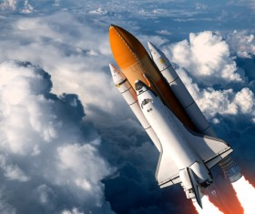 Through the clouds of the space shuttle and rocket 02