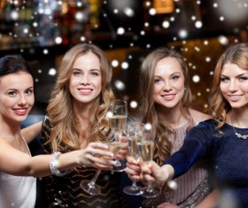 Toast to celebrate the New Year ladies Stock Photo 01