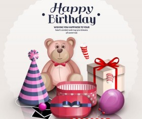Toy Bear with birthday gift card vector